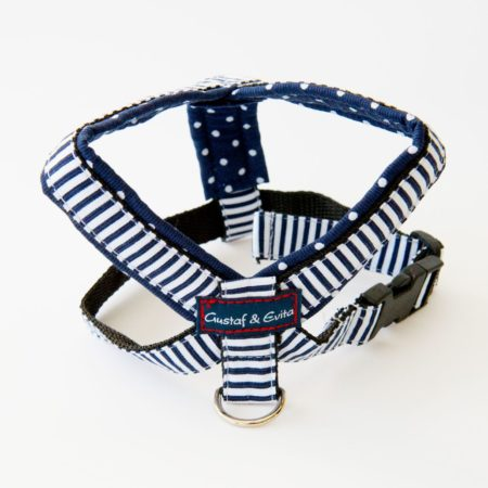 G&E HARNESS BLUE NAVY DOTS