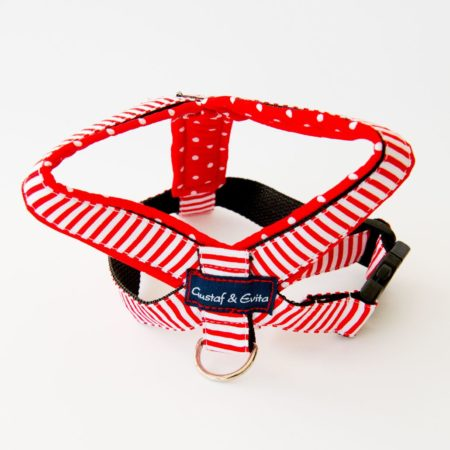 G&E HARNESS RED NAVY DOTS