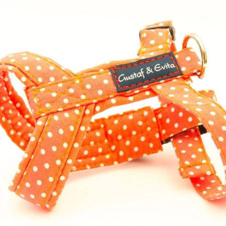G&E CAT HARNESS ORANGE DOTS