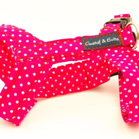G&E CAT HARNESS CERISE DOTS